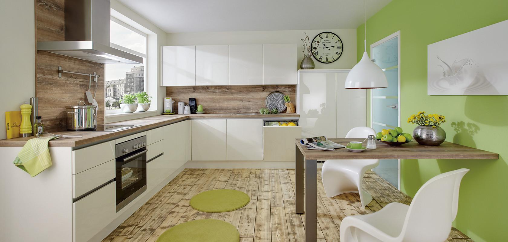 Глянцевая кухня без ручек Lux, nobilia
