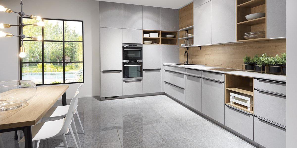Угловая кухня с каменным декором Stonrart304, nobilia