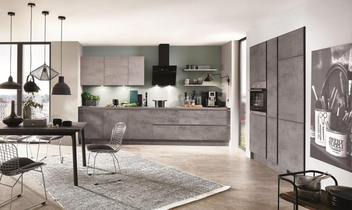 Кухня с фактурой бетона Riva, nobilia