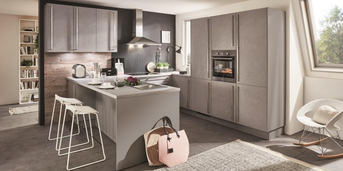 Кухня StoneArt304 с фактурой камня,nobilia
