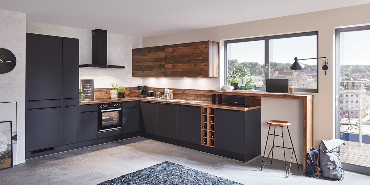 Угловая черная кухня Easytouch, nobilia