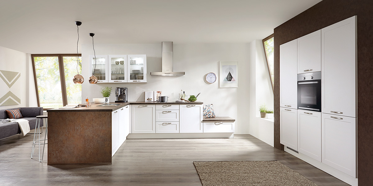 Белая кухня Credo с полуостровом, nobilia