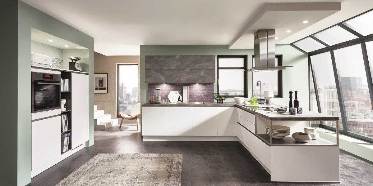Белая угловая кухня Fashion, nobilia