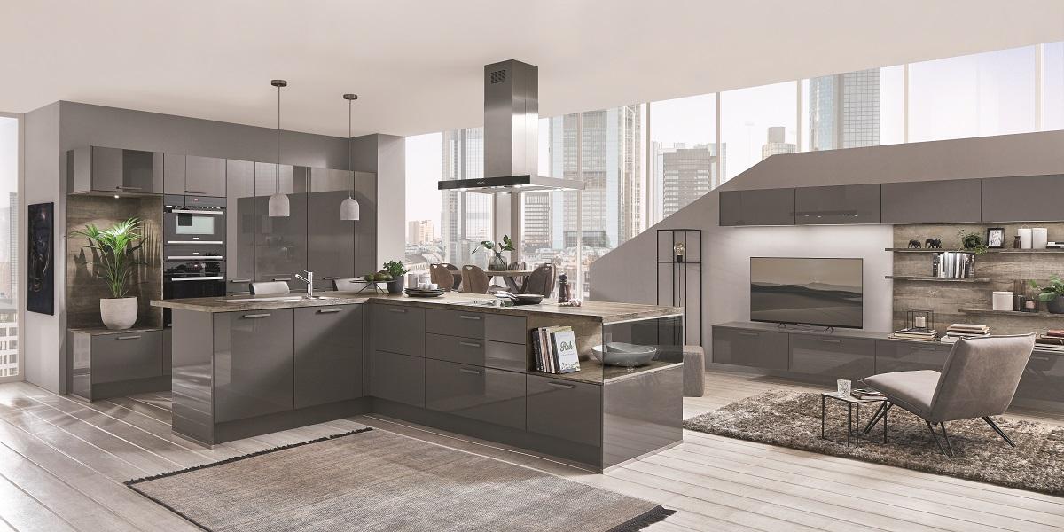 Кухня-гостиная, мебель Flash, nobilia